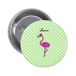 Personalized name flamingo green polka dots 6 cm round badge