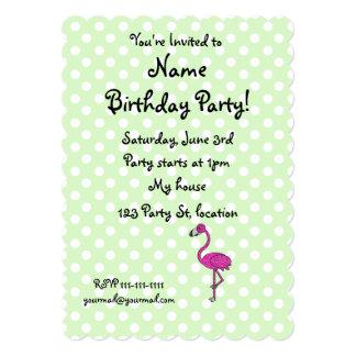 Personalized name flamingo green polka dots card