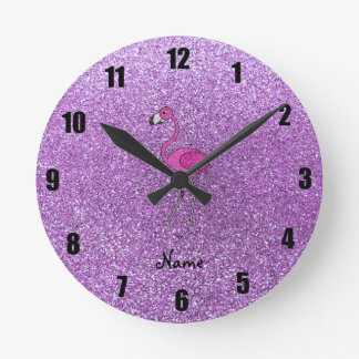 Personalized name flamingo purple glitter round clock