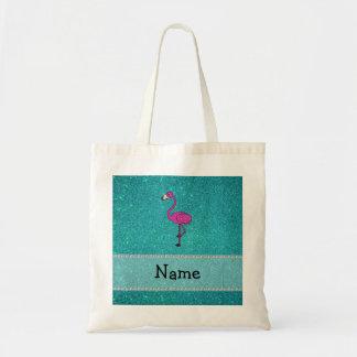 Personalized name flamingo turquoise glitter