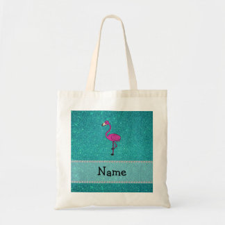 Personalized name flamingo turquoise glitter budget tote bag