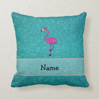 Personalized name flamingo turquoise glitter cushion
