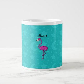 Personalized name flamingo turquoise stars moons large coffee mug