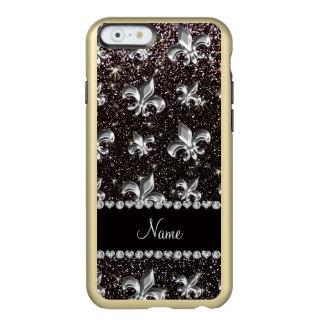 Personalized name fleur de lis black glitter incipio feather® shine iPhone 6 case