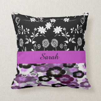 personalized name floral throw pillow