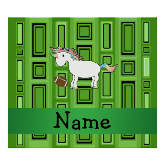 Personalized name football green squares poster