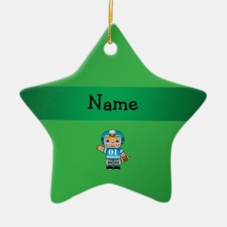 Personalized name football player green christmas ornament