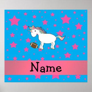 Personalized name football unicorn stars print