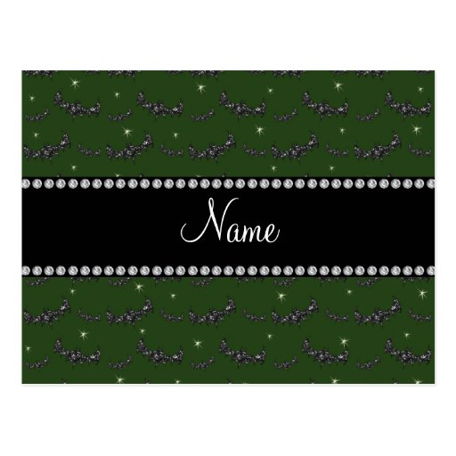 Personalized name forest green glitter bats post card