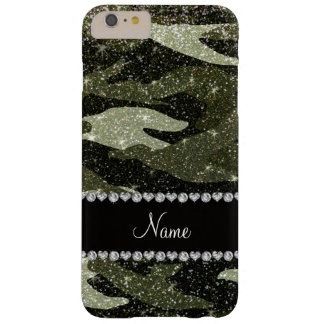 Personalized name forest green glitter camouflage barely there iPhone 6 plus case