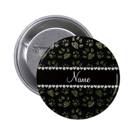 Personalized name forest green glitter cat paws pinback button