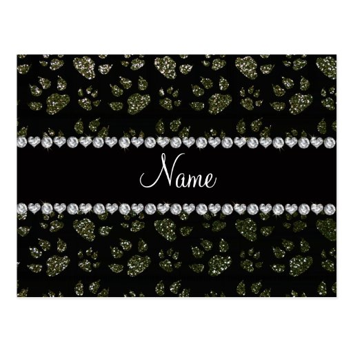 Personalized name forest green glitter cat paws postcards