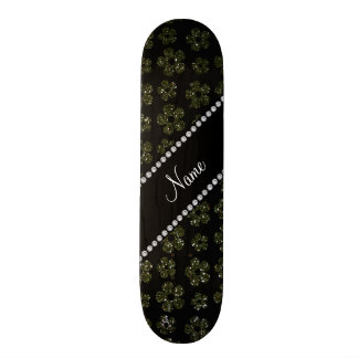 Personalized name forest green glitter flowers skate board