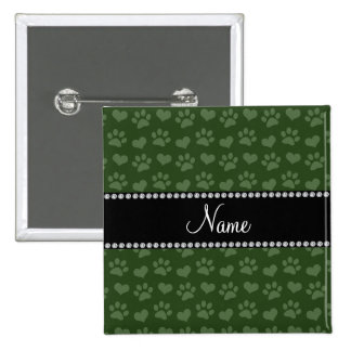 Personalized name forest green hearts and paw prin pinback buttons