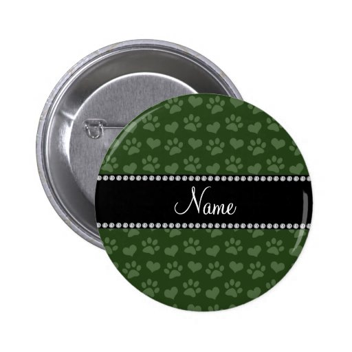 Personalized name forest green hearts and paw prin buttons