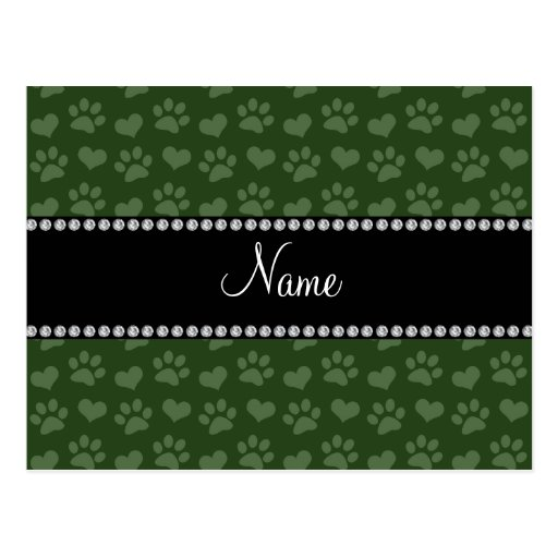 Personalized name forest green hearts and paw prin post card