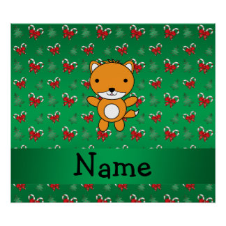 Personalized name fox green candy canes bows poster