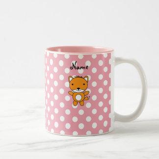 Personalized name fox pink polka dots coffee mug