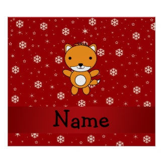 Personalized name fox red snowflakes posters