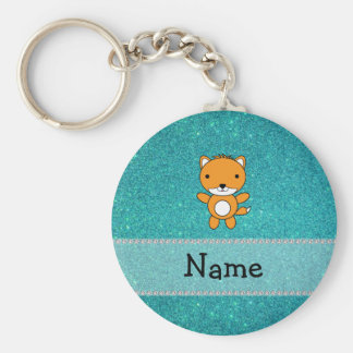 Personalized name fox turquoise glitter key ring