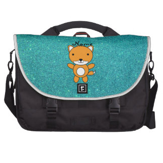 Personalized name fox turquoise glitter commuter bag