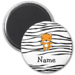 Personalized name fox zebra stripes magnet