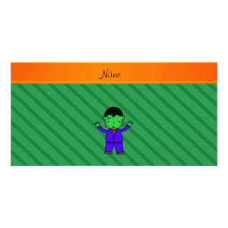 Personalized name frankenstein green stripes photo greeting card
