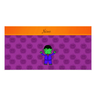 Personalized name frankenstein purple pumpkins photo cards