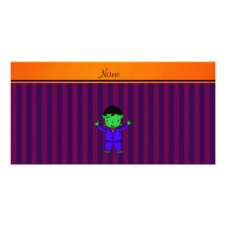 Personalized name frankenstein purple stripes customised photo card