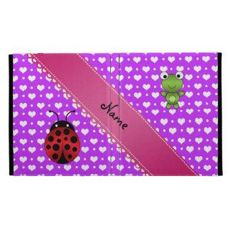 Personalized name frog and ladybug purple hearts iPad folio cases