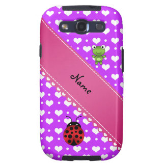 Personalized name frog and ladybug purple hearts galaxy s3 cover