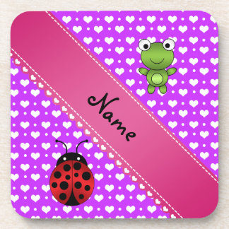 Personalized name frog and ladybug purple hearts drink coaster