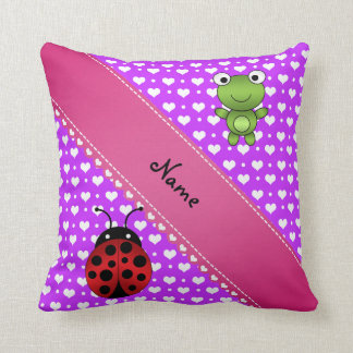 Personalized name frog and ladybug purple hearts throw pillow