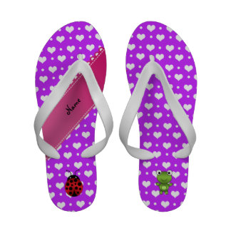 Personalized name frog and ladybug purple hearts sandals