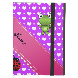 Personalized name frog and ladybug purple hearts iPad covers
