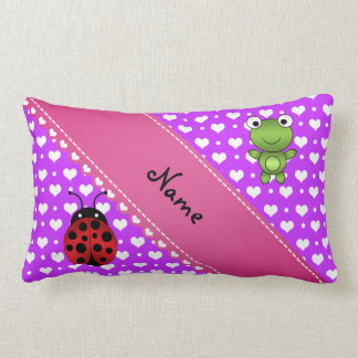 Personalized name frog and ladybug purple hearts p pillows