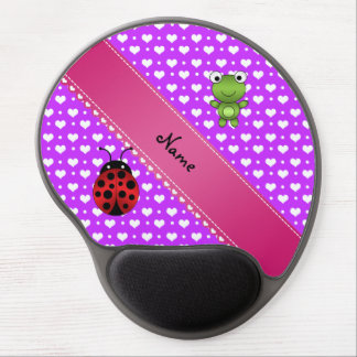 Personalized name frog and ladybug purple hearts p gel mouse mat