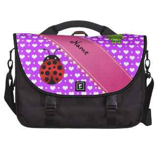 Personalized name frog and ladybug purple hearts p laptop computer bag