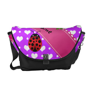 Personalized name frog and ladybug purple hearts p courier bags