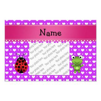 Personalized name frog and ladybug purple hearts photo