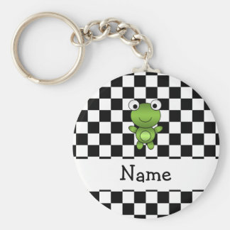 Personalized name frog black and white checkers key ring