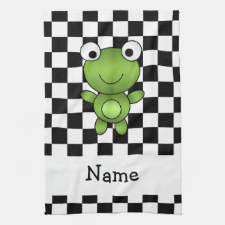Personalized name frog black and white checkers tea towel