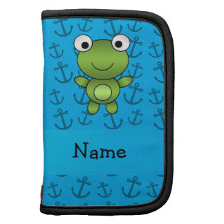Personalized name frog blue anchors pattern folio planner