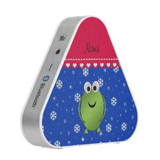 Personalized name frog blue snowflakes red stripe bluetooth speaker