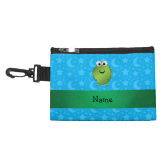 Personalized name frog blue stars and moons accessories bag
