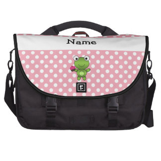Personalized name frog cupcake pink polka dots laptop bags