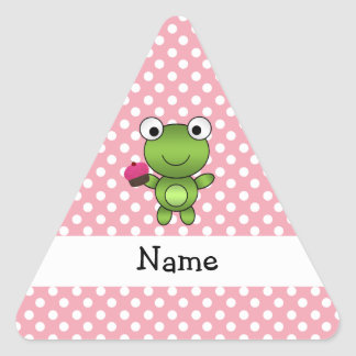 Personalized name frog cupcake pink polka dots triangle stickers