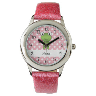 Personalized name frog cupcake pink polka dots watch