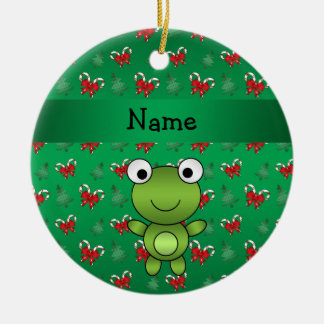 Personalized name frog green candy canes bows christmas ornament