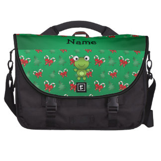 Personalized name frog green candy canes bows computer bag